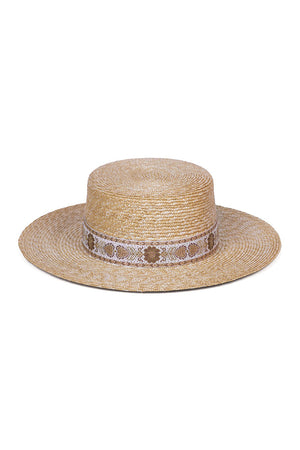 Lack of Color Spencer straw boater hat with vintage ribbon | pipe and row