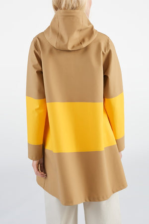 Stutterheim Mosebacke large sand yellow stripe raincoat color block | pipe and row