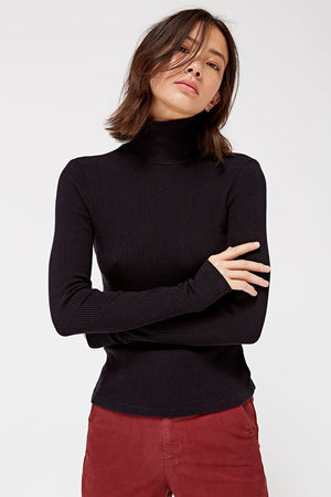 Lacausa ribbed sweater turtleneck black tar | Pipe and Row Seattle