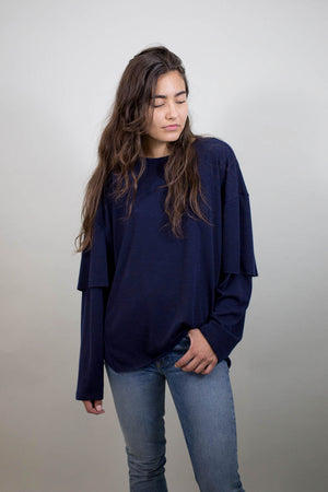 Drifter Sylvan Elongated Pullover in Navy | Pipe and Row Boutique