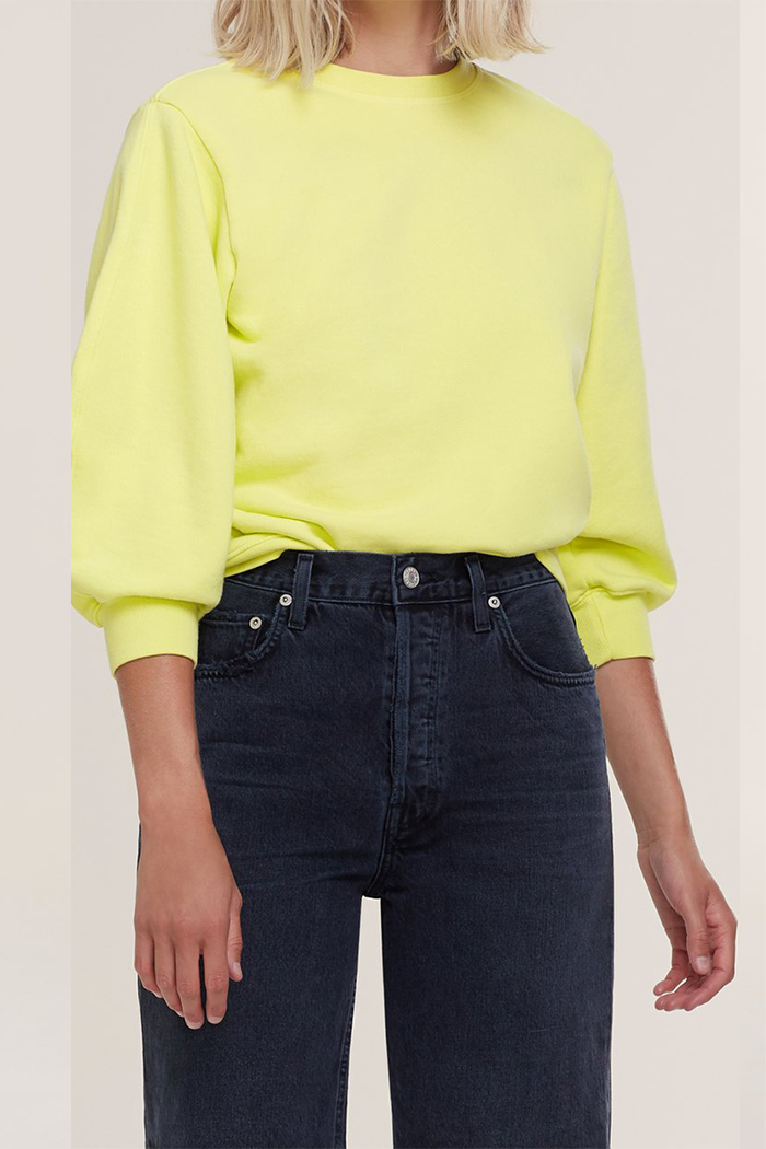 Agolde Thora sweatshirt tarte neon yellow | Pipe and row Seattle Boutique