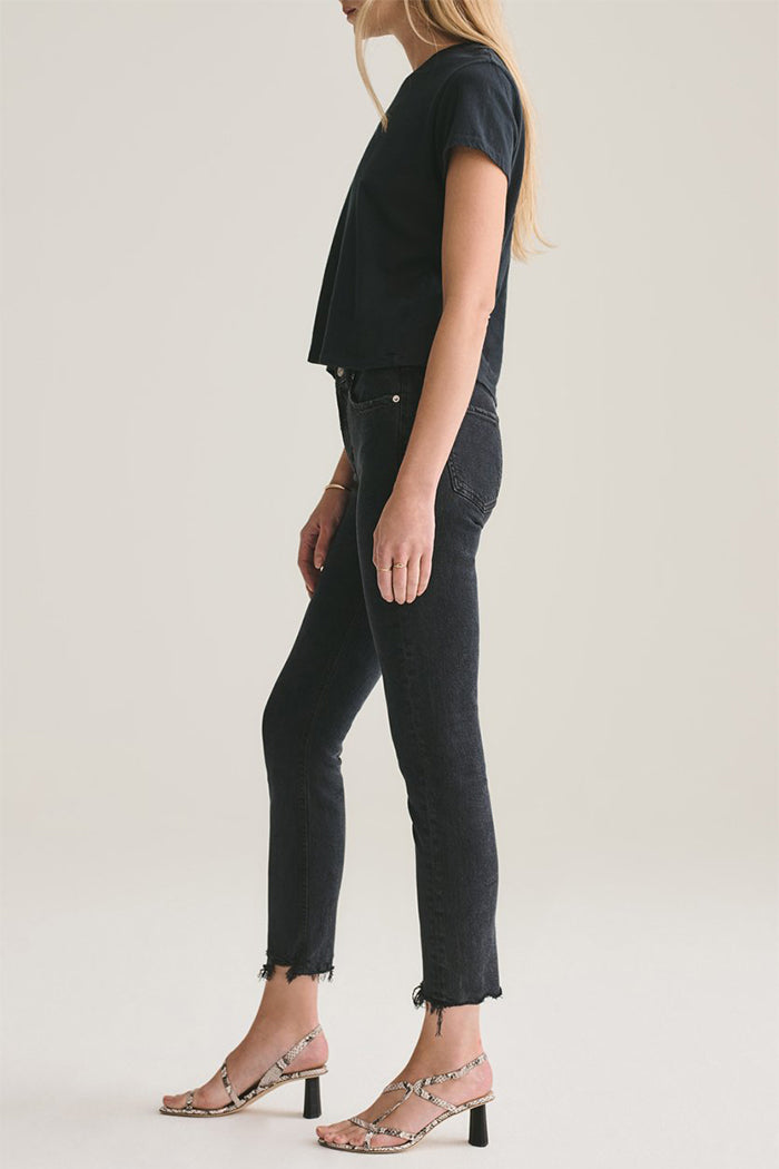 Agolde Toni denim straight leg jeans washed black Feral | Pipe and Row Boutique Seattle