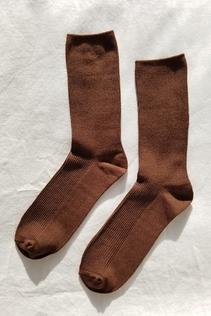 Le Bon Shoppe Trouser socks ribbed dijon brown | pipe and row seattle