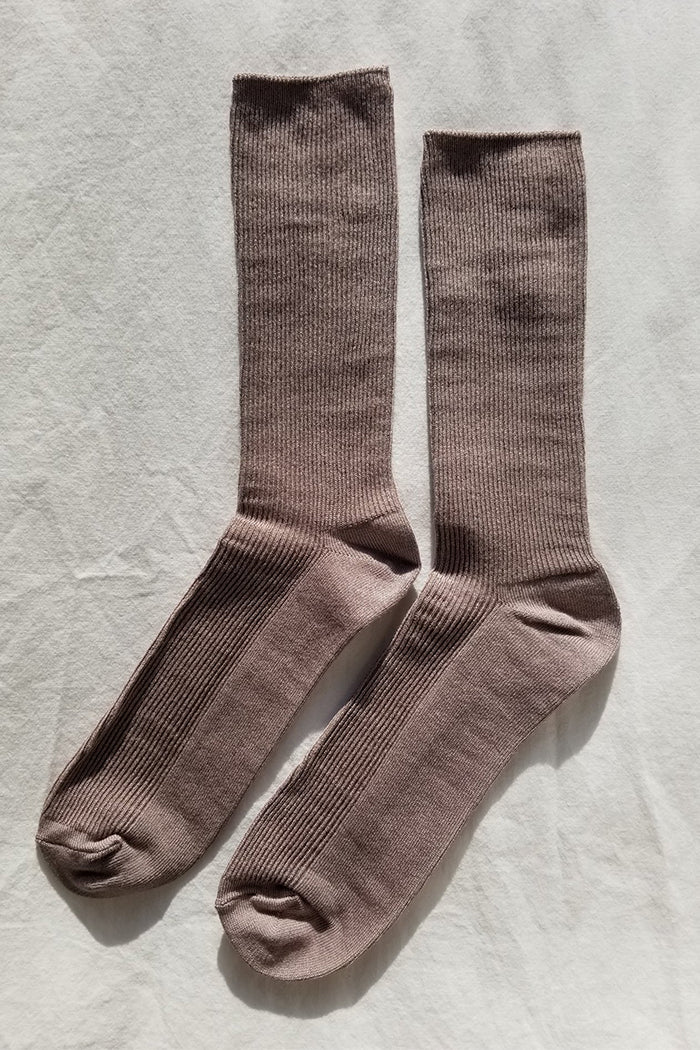 Le Bon Shoppe Trouser socks ribbed trenchcoat mauve | pipe and row seattle