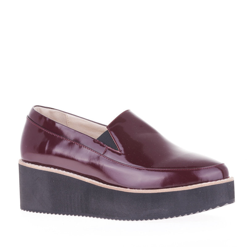 SOL SANA TABBIE WEDGE WINE PATENT BLACK SOLES | PIPE AND ROW