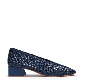 miista plain navy woven taissa pumps | pipe and row boutique