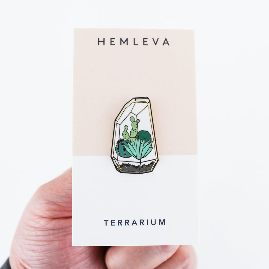 Terrarium enamel pin Hemleva | PIPE AND ROW shopping Seattle fremont boutique