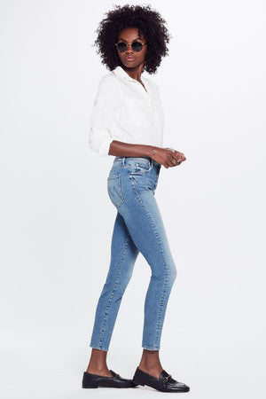 "Mother Denim Stunner Ankle in ""Love Experiment pipe and row classic wash"