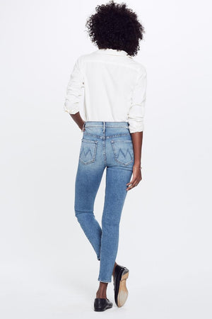"Mother Denim Stunner Ankle in ""Love Experiment pipe and row skinny jeans"