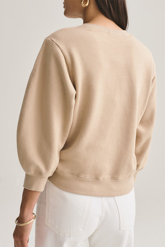 Agolde Thora cropped sweatshirt Noodle tan cotton | pipe and row seattle