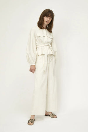 Just Female Tirsa corduroy cream trousers wide leg | pipe and row