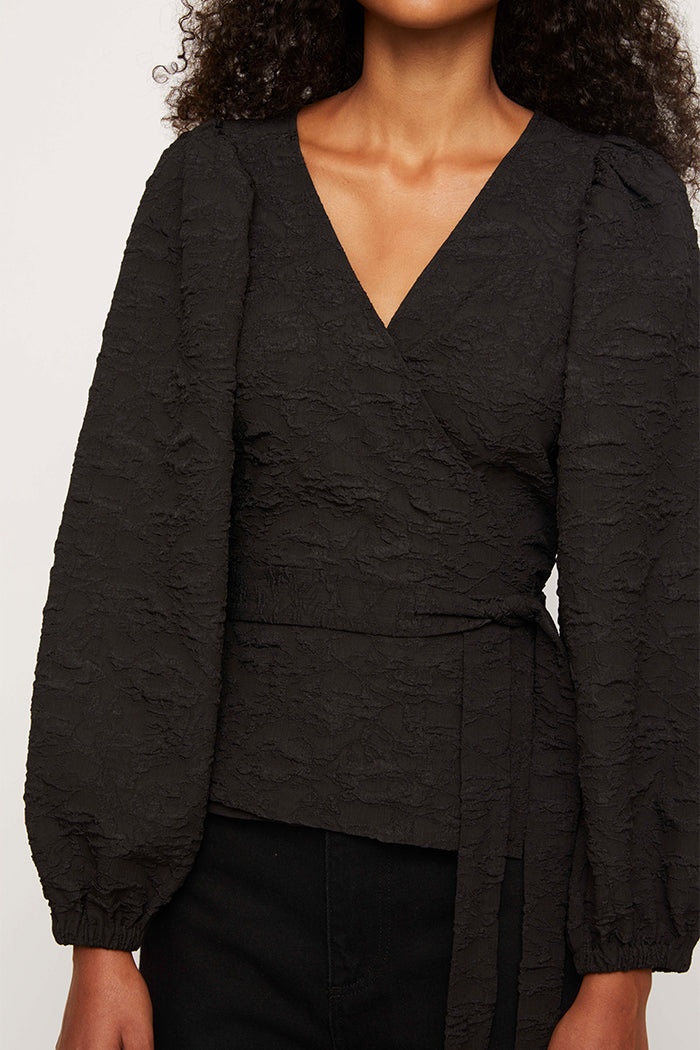 Just Female Toda wrap blouse textured black 3D fabric | Pipe and Row boutique