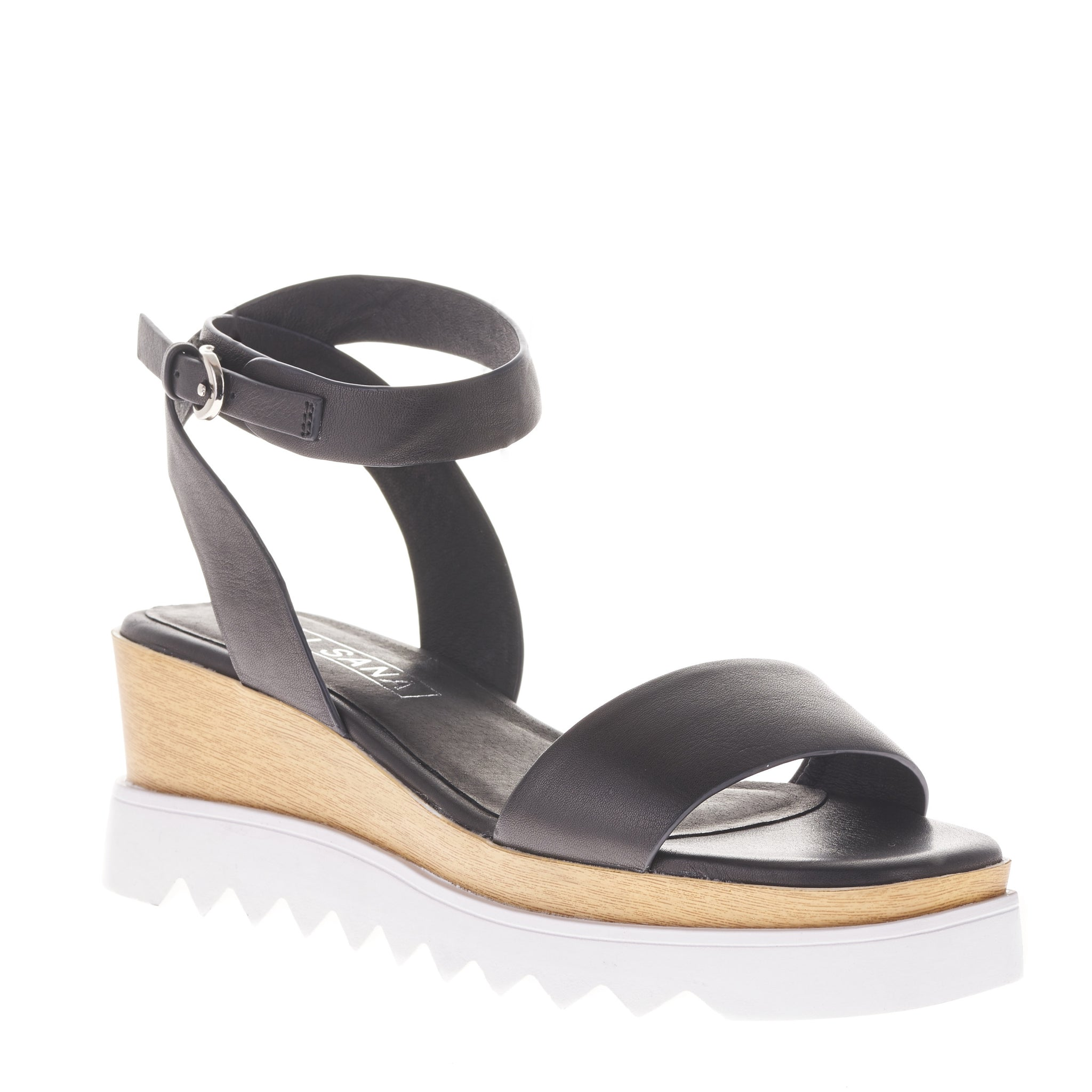 7182c1ce766 Sol Sana Tray flatform wedge in black leather sandals