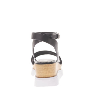 SOL SANA TRAY black leather FLATFORM WEDGE | PIPE AND ROW