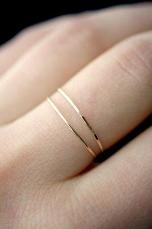 Ultra thin hammered stacking rings 14k gold fill Jewelry handmade | PIPE AND ROW Seattle