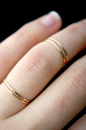 thin midi knuckle hammered gold sterling silver Jewelry handmade | PIPE AND ROW Seattle