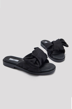 MIISTA SHOES VALERIE BOW SANDALS BLACK MOIREE | PIPE AND ROW FREMONT SEATTLE