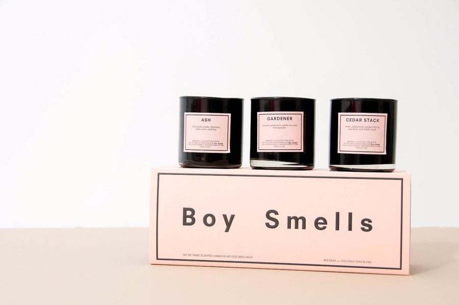 Ash, Cedar Stack, Gardener votive gift set 3 candles Boy Smells | Pipe and row Boutique Fremont Seattle