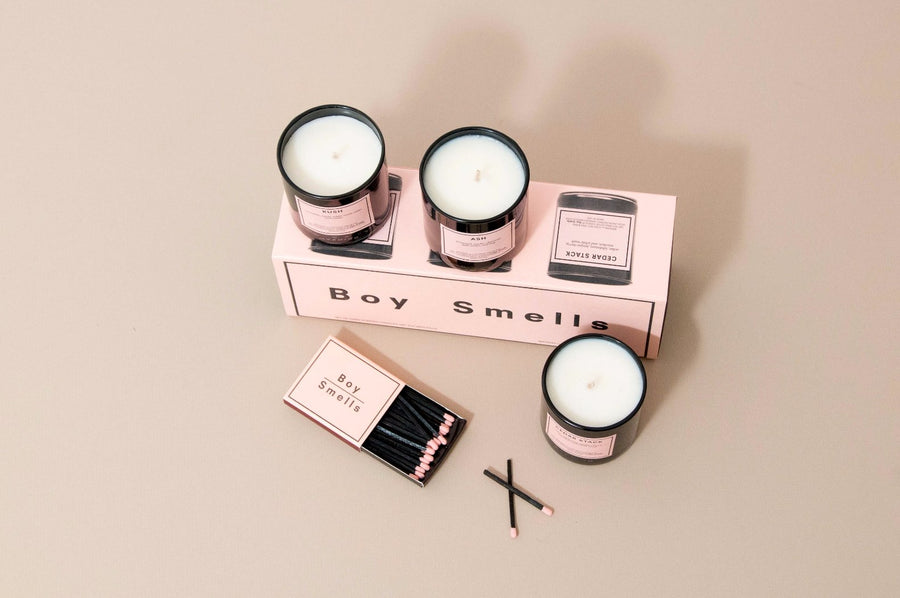 KUSH, ASH, CEDAR STACK votive gift set 3 candles Boy Smells | Pipe and row