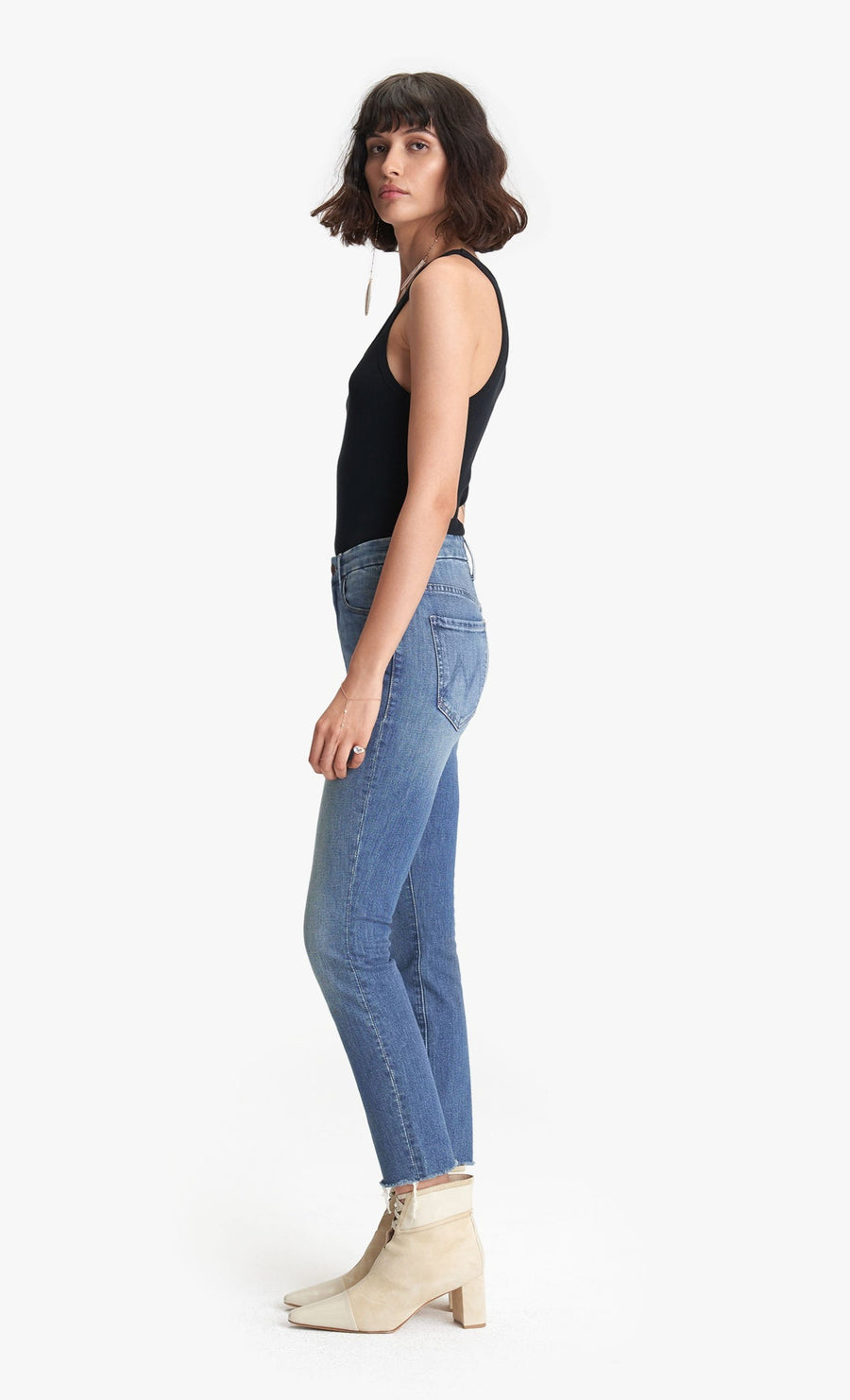 Mother Denim high waisted looker wander dust blue denim | Pipe and Row