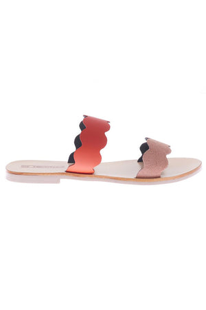 Wave slide open toe sandals in pink flame Sol Sana Pipe and Row Seattle shoes