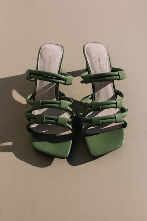 Intentionally Blank shoes Willow II sandal heel strappy 90's olive patent leather | Pipe and Row