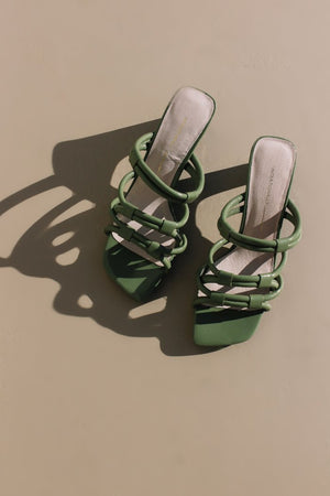 Intentionally Blank shoes Willow II sandal heel strappy 90's olive green patent leather | Pipe and Row