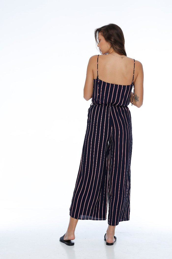 Rue Stiic Wilshire stripe jumpsuit navy red white | Pipe and Row Boutique