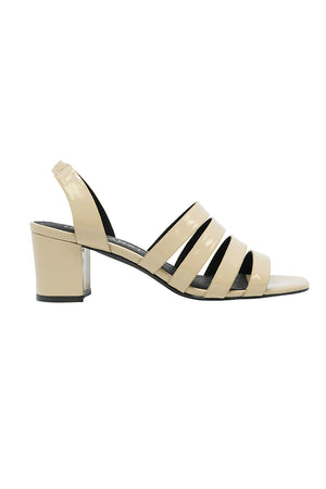 Sol Sana Wilson open toe heel sandal shoe glossy ecru | Pipe and Row