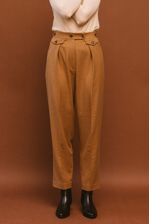 Mijeong Park soft, Wool blend, tailored pleated trousers navy and camel | Pipe and row