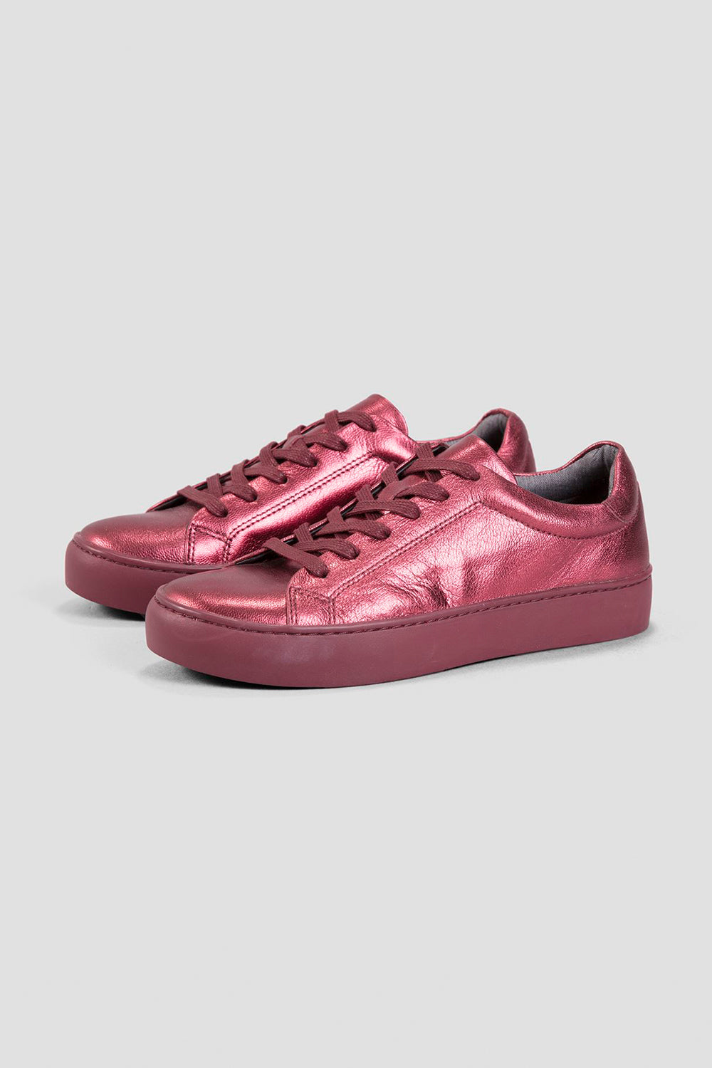 61be7aedf3 Vagabond Zoe wine red metallic leather lace-up modern sneaker