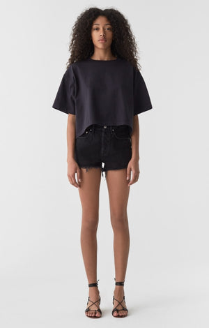 Agolde vintage loose Parker cut off shorts black Tidal | Pipe and Row
