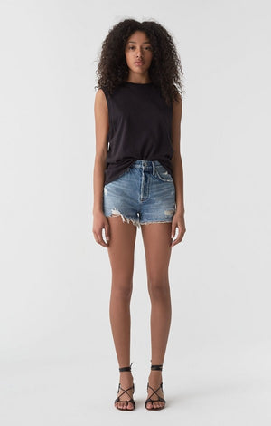 Agolde high rise Jaden cut off shorts in SURREAL | PIPE AND ROW