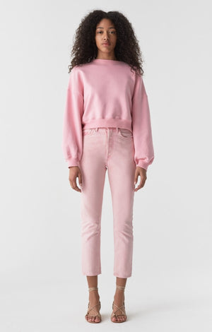Agolde Balloon sleeve cropped jersey sweatshirt baby pink | pipe and row