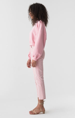 Agolde Balloon sleeve cropped jersey sweatshirt bright pink | pipe and row