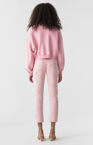 Agolde Balloon sleeve cropped jersey soft cozy sweatshirt bubble gum pink | pipe and row