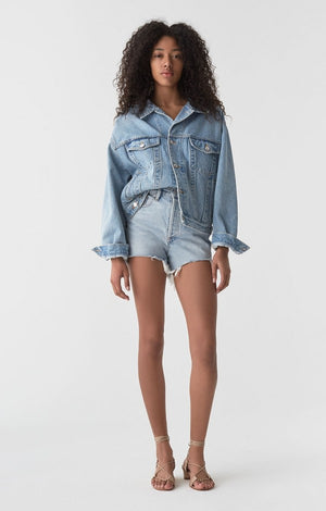 Agolde Dee ultra high rise denim jean shorts light Digit | Pipe and Row