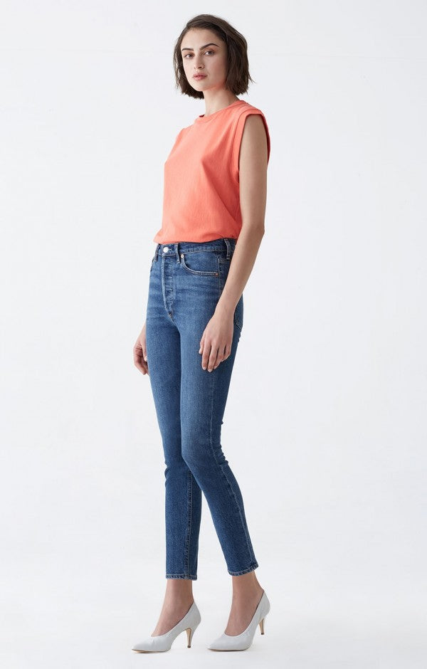 Agolde denim jeans Nico hi-rise slim Subued wash | pipe and row seattle boutique