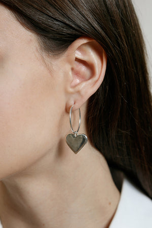 Wolf Circus Amourette heart hoop earrings silver | pipe and row