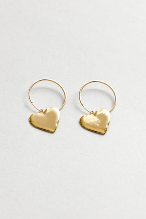 Wolf Circus Amourette heart hoop earrings gold | pipe and row