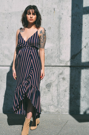 andalusia summer wrap dress navy rue stiic | pipe and row seattle