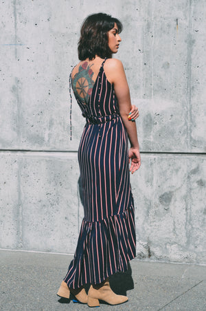 lightweight summer wrap dress navy stripe andalusia rue stiic | pipe and row