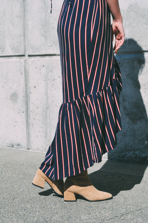 ruffle skirt wrap dress navy stripe rue stiic | pipe and row seattle