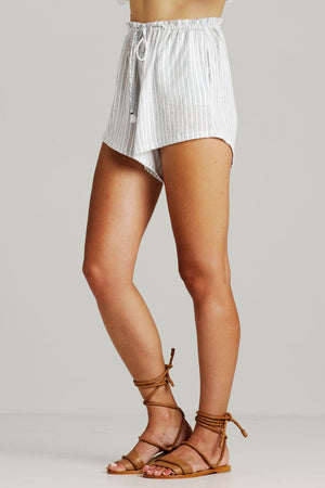 rue stiic ashley stripe slouch shorts white black | pipe and row boutique