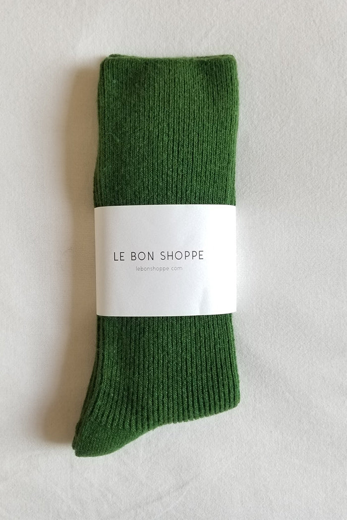 Le Bon Shoppe Grandpa socks Avocado green cashmere wool | PIPE AND ROW
