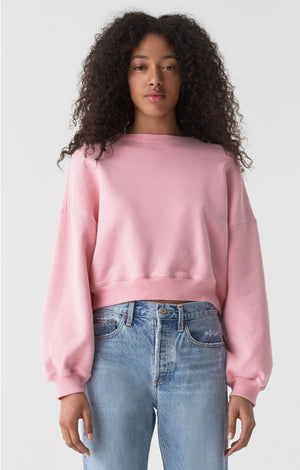 Agolde Balloon sleeve cropped jersey sweatshirt bubble gum pink | pipe and row