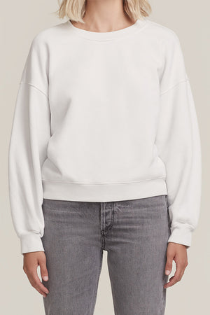 Agolde balloon sleeve crew neck sweatshirt cream paper mache ivory | pipe and row