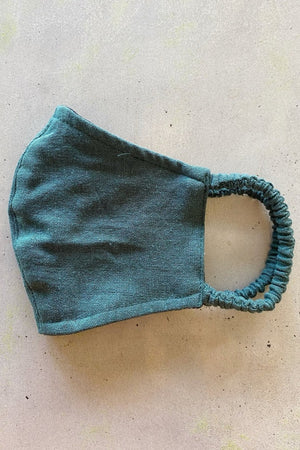 Rue Stiic green linen face mask Handmade in Bali dead stock fabric | pipe and row boutique