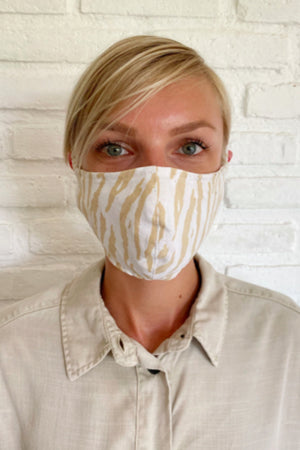 beige zebra le tigre Rue Stiic face mask HanDmade in Bali dead stock fabric woman owned | pipe and row boutique
