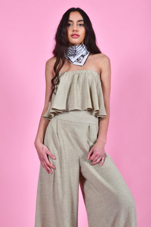 bella crop top florence pants khaki linen | pipe and row